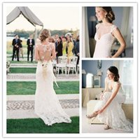 Wholesale 2015 New Elegant Beach Wedding Dresses Sheath Square Sweep Train Lace Sheer Hollow Embroidery Hand Made Flower Column Bridal Gown HY