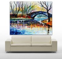 Oil Painting architecture usa - USA Amsterdam Cityscape Architecture Palette Knife Painting Picture Printed On Canvas For Home Office Decoration Wall Decor