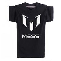 barcelona printing - 2016 summer brand cotton Barcelona MESSI Soccer Men t shirt tops Man casual sport short sleeve football t shirts Plus Size