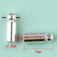 Cheap 300pcs lot Silver Plated End Caps For 2mm Leather Cord BB129-1