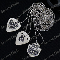 Wholesale 10 Stainless steel Guitar Picks Pendant Necklace Playing Heavy Metal guitar picks Thickness mm guitar parts