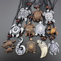 amulet pendants - Hot Selling Imitation Yak Bone Carving Lucky Surfing Turtles Pendant Adjustable Cord Necklace Amulet Gift MN329
