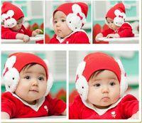 Wholesale 2014 New Double Rabbit Baby Girls Boys Winter Warm Hat Cap Beanie with Earflaps Kids Rabbit Plush Earmuffs