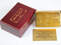 baseball card box - New K Karat Gold Foil Plated Poker Playing Card with Wood Box and Certificate sets
