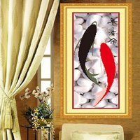 Wholesale 3D New Cross Stitch Fish Print Cross Stitch Series Bedroom Living Dining Painting Print Fish Cross stich