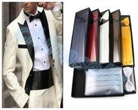 Wholesale hot set man dress cummerbund elegant girdle pocket towel bow tie groom waist seal tie chest towel gift box set decoration