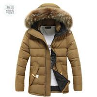 men fur coat - Winter Men Casual Jackets Coats Outdoor Wear Warm Jacket With Fur Hat Abrigos Chaqueta Hombre Veste Homme color