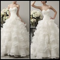 Wholesale 2016 New Arrival Sweetheart Organza Pleated Ball Gown Wedding Dresses Elegant Ruffles Bridal Gowns