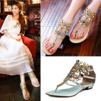 Wholesale Bohemia Colorful Bling Rhinestone Gladiator Strappys Womens Flat Thong Sandals