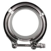 Wholesale New Universal quot mm Turbo Exhaust Down Pipe Stainless V Band Clamp Kit Chrome Flanges Steel High quality