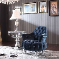 sofa set - European style leisure chair new classical sofa chair angle several blue cloth art luxury fashion personality single chair