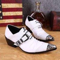 men dress shoes white leather - 4 CM pointed Toe Fashion Men shoes white Black British men s leather shoes men s wedding shoe Dress Business Shoes EU38