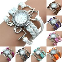 Wholesale Girl s Knitting Faux Leather Band Love Heart Charm Rhinestone Bracelet Watch DBF