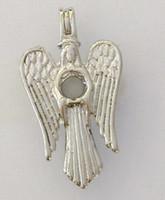 achat en gros de anges de mode-18kgp Goddess Perle / Cristal / Cage Gems Cage Lockets, La Vierge Marie avec Angel Wings style pendentif souhait pour DIY Bijoux Fashion Bijoux