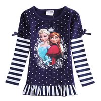 designer shirts - nova new cute designer baby girl clothes frozen elsa anna tutu navy t shirt dresses polka dots cotton tops girls long sleeve F5360D