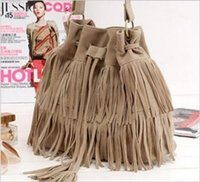 microfiber suede - Women Faux Suede Fringe Tassel Shoulder Bag Handbags Messenger Bag Women s Fashion Crossbody Bags color
