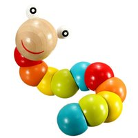 Wholesale Magical Colorful Insects Twist Wooden Children Kids Baby Fingers Flexible Training Science Educational Puzzle Cute Toys