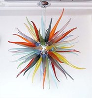 art unusual - 100 Mouth Blown CE UL Borosilicate Murano Glass Dale Chihuly Art Unusual Star Shaped Colorful Chandelier Led