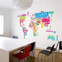 Wholesale colorful letters world map wall stickers living room home decorations creative pvc decal mural art zooyoo035 diy office wall art