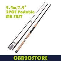 Wholesale 2 m ft MH FAST PCE PORTABLE spinning fishing rod premium grade CORK HANDLE BASS fishing pole spinning fishing gear