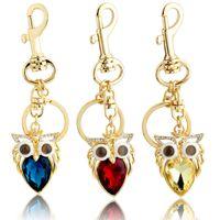 souvenir keychain - 2015 Christman Lucky new fashion designer Gold Big Crystal Owl Keychain novelty items cut rings women original souvenir gadget