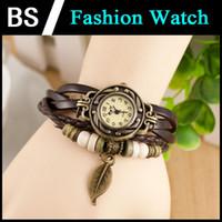 Wholesale Retro Quartz Weave Wrap Around Leather Bracelet Bangle Womens Tree Leaf Women Girls LADIES Wrist Fashion Watch