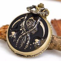 antique glass tables - 2016 hot Drip pirate skull retro pocket watch necklace fashion sweater chain clamshell fashion student table