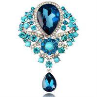 big diamond pendant - Luxury big gem Crystal Rhinestone Pins Brooches women silver gold plate diamond pendants brooch Chirstmas party charm jewelry gift