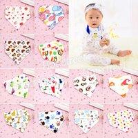 Wholesale 100 cotton double elastic cotton ultrathin film baby bibs Burp Cloths triangle towel cotton bib