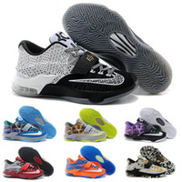 Wholesale 2016 Cheap Kevin Durant KD Basketball Shoes KD7 Sports Shoe Athletic Running shoes Best price Quality With Standout Mid sole Size
