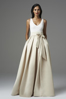 aidan mattox dress - Maxi Bridesmaid Dresses Two Toned Inspired by Aidan Mattox A Line Satin V Neck Floor Length Long Prom Dresses DHYZ