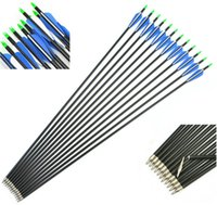 archery - 12pcs Inch cm Spine Blue White Target Practice Steel Point Archery Fiberglass Arrows for Hunting Compound Recurve Bow