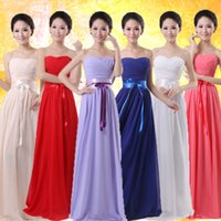 Wholesale 2015 Cheap A Line Sweetheart Bridesmaid Dresses Long Chiffon Prom Gown Blue Light Purple Red White Plus Size