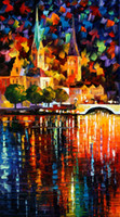 Wholesale Unframed Prints Russian Federation oil painting tree leaf umbrella girl street lamp Bridge river sea sunlight Sailing boat