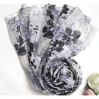 baby stealing - White Sunscreen Sandbech Stole Mulberry Silk Summer Shawl Luxury Baby Doll Scarves with Black Print Flower USMI0217