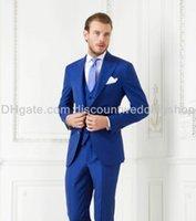 wholesale suits - New Arrivals Two Buttons Royal Blue Groom Tuxedos Peak Lapel Groomsmen Best Man Suits Mens Wedding Suits Jacket Pants Vest Tie NO