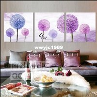Wholesale Modern dandelion flowers art pictures purple blue flower painting for home decoration gift for friends