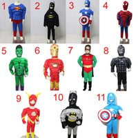 Wholesale super heroes Children s Muscle style costume Cosplay Halloween Superman Iron Man Hulk Captain America Batman Spider man Robin