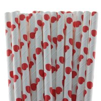 Wholesale 2015 red heart shaped paper straws