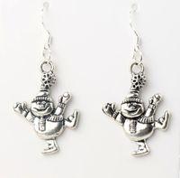 american smile - MIC x47 mm Antique Silver Dancing Smile Snowman Charm Pendant Earrings Silver Fish Ear Hook Dangle Chandelier Jewelry E746