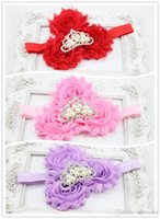 Wholesale Triple Shabby Chic Flower with Tiara Crown on Elastic Headband Cute Baby Crown headband Newborn Baby Hair Accessories