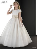 aire organza - 2015 Cheap Flower Girls Dresses Organza Hand Made Flower Applique Communion Dress Girl Pageant Gowns Short Sleeve Lace Aire LEANA