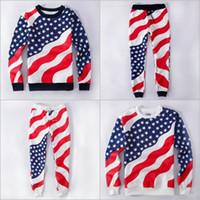 Wholesale Alisister New d american flag suit black white print jogging pants and sweatshirt piece sets men women sport sweatpants