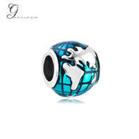 Wholesale Fits Pandora Charm Bracelet Silver Lucky Beads Ocean Blue Earth World Loose Charms For Diy European Style Snake Charm Chain