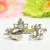 Wholesale Dollhouse Miniature Toy Kitchen Dining Room A Silver Teapot With Lid Decor Novelty Gift