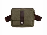 Wholesale Casual Multi Function Vintage Square Men Canvas Waist Bag Bum Waist Pouch Leisure Fanny Pack Holding Male Bag for Phone