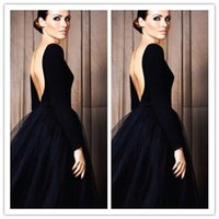 sexy lady nude - Black Backless Ball Gown Ladies Formal Tuxedo Floor Length Long Sleeves Special Occasion Dresses Tulle Elegant Womens Evening Gowns