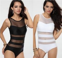 Wholesale Women s Black White One piece Swimwear Monokini with Mesh Tulle Sexy Vest Straps Bathing suit S M L