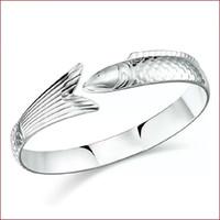 Pulseras del encanto de la joyería de los artículos de la plata esterlina 925 pescados del infinito de la vendimia formaron el tamaño único del ajustabale del brazalete de la cola