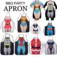 funny novelty aprons - Novelty Funny Superman Spider man Batman Aprons Sexy Men Women Kitchen Cooking Chef Apron